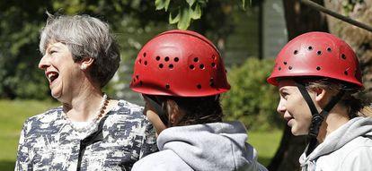 La primera ministra Theresa May, en la localidad de Glasbury,  Gales, el pasado 17 de agosto de 2017.