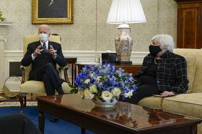 US President Joe Biden with Treasury Secretary Janet Yellen.