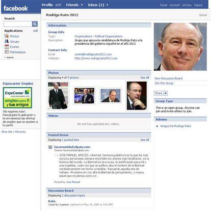 El perfil en Facebook de un grupo de apoyo a Rato: Amigos de Rodrigo Rato.