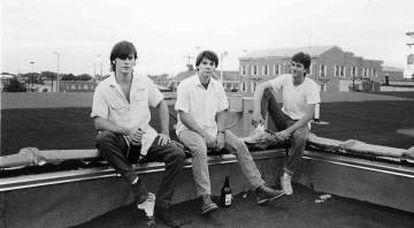 Jay Farrar Jeff Tweedy y Mike Heidorn en los días de Uncle Tupelo en Illinois.