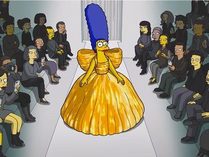 Marge Simpson fue modelo de Balenciaga en el capítulo especial de 'Los Simpson' que se proyectó durante el desfile de la firma en la semana de la moda de París.