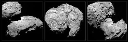 Fotografía del cometa 67P/Churyumov-Gerasimenko con la ubicación de los cinco lugares preseleccionados (A, B, C, I y J) en la superficie para el aterrizaje de la sonda Philae.