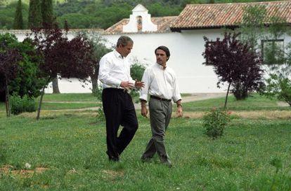 George W. Bush y Aznar en Quintos de Mora en 2001.