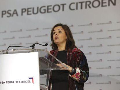 Soraya Sáenz de Santamaría, este lunes.
