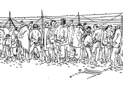 Uno de los dibujos de Josep Bartoli en el libro 'La retirada', sobre los republicanos españoles en los campos de concentración del sur de Francia.