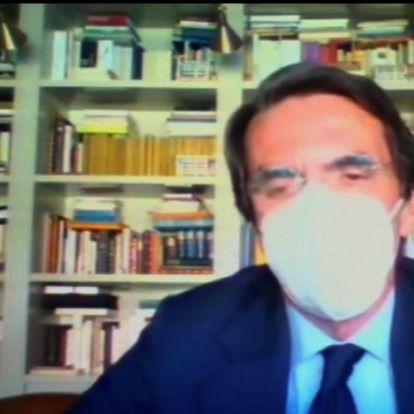 """MADRID, 24/03/2021.-Captura de vídeo de la declaración del expresidente del Gobierno José María Aznar, que en la Audiencia Nacional Aznar ha insistido en que no ha autorizado nunca ningún pago porque no era su """"función"""" ni entraba dentro de sus """"competencias"""" o """"responsabilidades"""". """"No he autorizado ninguna compensación"""", ha dicho varias veces. El expresidente ha negado haber recibido """"ningún sobresueldo"""" o haber conocido """"ninguna contabilidad B en el PP"""", y ha destacado que todo lo que recibió del partido fue por transferencia y que lo declaró a Hacienda.- EFE/EFETV"""