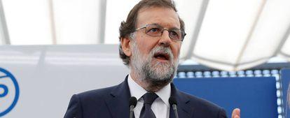 Rajoy en un acto este miércoles en la sede del PP.