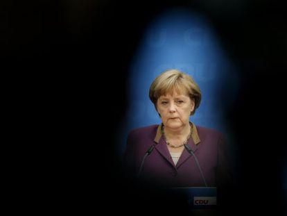 La canciller alemana Angela Merkel en una rueda de prensa en Berlín este lunes.