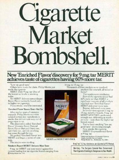 """""""La bomba de los cigarrillos"""", decía en 1976 este anuncio de tabaco con bajo alquitrán y """"sabor enriquecido""""."""