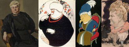 Desde la izquierda, retrato de Emilia Pardo Bazán pintado por Sorolla en 1913, caricatura de Luis Bagaría y dos dibujos anónimos.