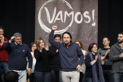 El líder de Podemos, Pablo Iglesias, en un acto del partido en Madrid.
