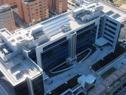 Vista aérea de la sede central de FCC en Madrid.