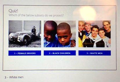 Esta diapositiva forma parte de los documentos internos de Facebook que examinó ProPública para su investigación. En ella se identifican tres grupos: conductoras, niños negros y hombres blancos. ¿Qué grupo está protegido del discurso del odio? La respuesta correcta: los hombres blancos.