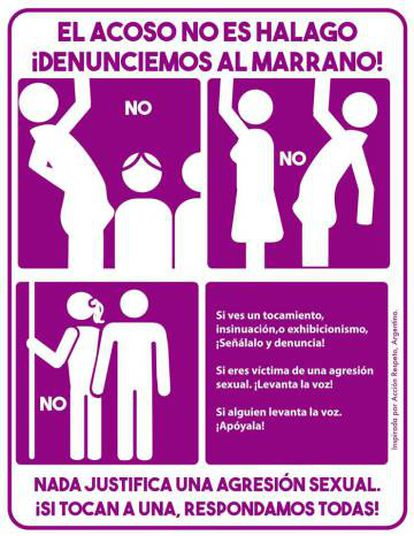 Un cartel contra el acoso en el transporte en Argentina.