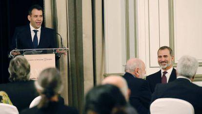 El periodista de EL PAÍS Rubén Amón durante su discurso.