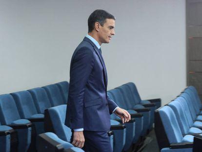 Pedro Sánchez, en La Moncloa para comunicar su posición ante la situación de Venezuela, este sábado.