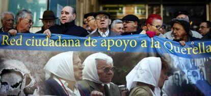Represaliados del franquismo, en noviembre de 2012, tras entregar en la embajada argentina más de 2.000 testimonios de apoyo a la querella.