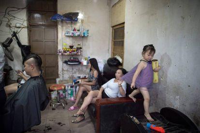 Peluquería en las afueras de Pekín