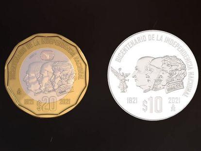 Monedas conmemorativas por el aniversario de la Independencia de México.