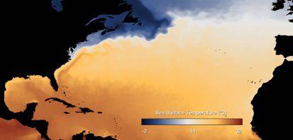 Este mapa de temperaturas muestra el recorrido de la corriente del Golfo frente a la costa de EE UU.