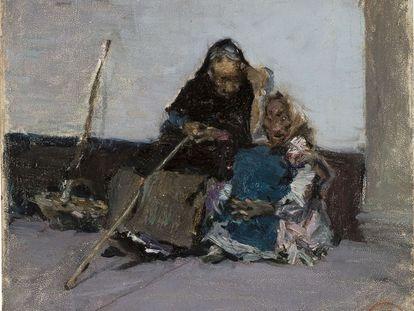 Detalle central de 'Dos mendigos', de Marià Fortuny, una obra adquiridad por la Generalitat y depositada en el MNAC.