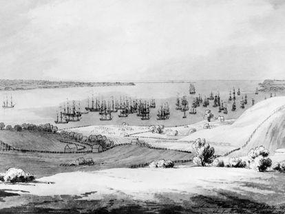 Dibujo a tinta titulado 'Vista del estrecho entre Long Island y Staten Island con la flota anclada de lord Howe', en julio de 1776.