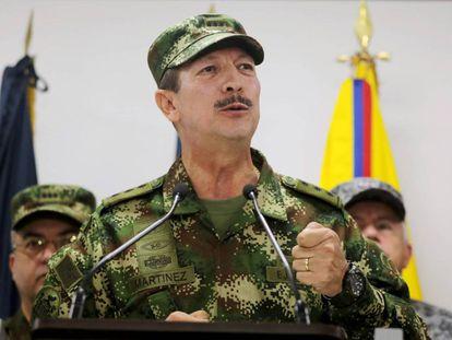 El comandante del Ejército colombiano, Nicacio Martínez Espinel, el pasado 20 de mayo durante una comparecencia.