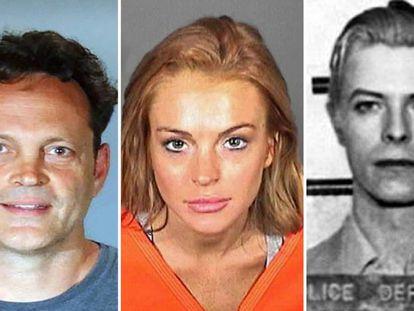 Vince Vaughn, Lindsay Lohan y David Bowie en sus fotos de detención.