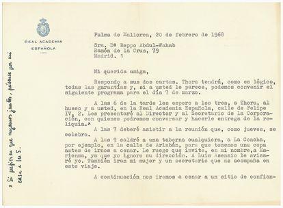 Carta de Camilo José Cela a la pintora Beppo Abdul-Wahab sobre el hueso del Cid Campeador.
