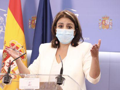 Adriana Lastra, portavoz del PSOE en el Congreso de los Diputados, durante una conferencia de prensa el pasado septiembre.