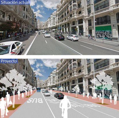Proyecto para Gran Vía en la subida desde la calle de Alcalá.