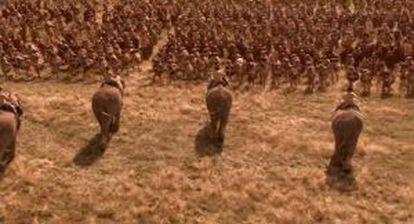 Recreación de un ataque de elafntes púnicos contra las legiones romanas