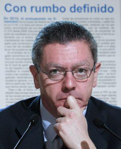 El alcalde de Madrid, Alberto Ruiz- Gallardón, durante la presentación de los Presupuestos del Ayuntamiento.