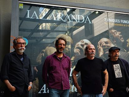 La Zaranda, formada por el autor Eusebio Calonge, los actores Enrique Bustos y Gaspar Campuzano y el director Paco de la Zaranda (Francisco Sánchez), en el Teatre Romea de Barcelona.
