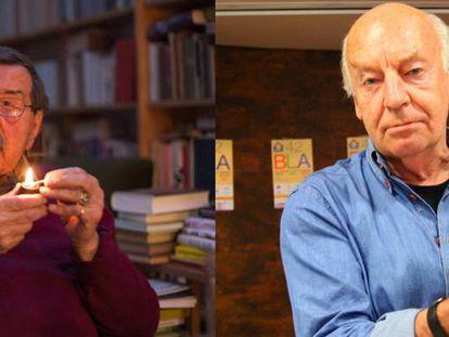 Günter Grass, en su casa de Lübeck, en marzo de 2015, y Eduardo Galeano, en mayo del 2012 en Bilbao.