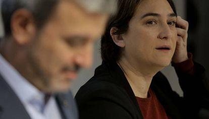 Jaume Collboni y Ada Colau, en la presentación del acuerdo.