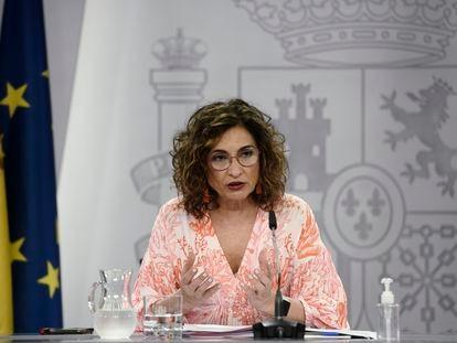 La portavoz del Gobierno, María Jesús Montero, este martes en la rueda de prensa posterior al Consejo de Ministros.