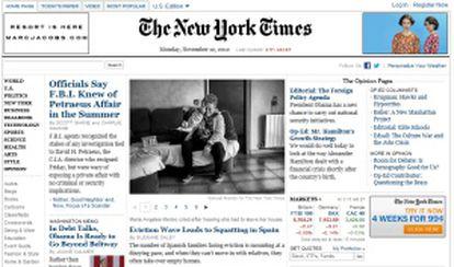 Portada de la edición digital del diario 'The New York Times'.