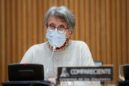Rosa María Mateo comparece ante la Comisión de Control de RTVE, la semana pasada.