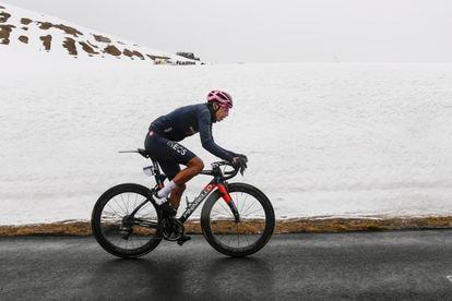 Egan Bernal, alcanzando, el lunes, la cima del Giau.