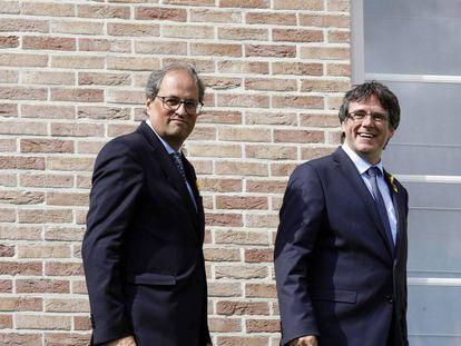Carles Puigdemont y el presidente de la Generalitat Joaquim Torra el pasado sábado en Bruselas.
