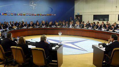 Vista general de la reunión de titulares de Defensa de países de la OTAN en Bruselas, Bélgica, celebrada el pasado 5 de octubre. EFE/Archivo