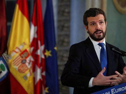 El presidente del PP, Pablo Casado, durante su intervención en un desayuno informativo de Nueva Economía Fórum, este miércoles en Madrid.