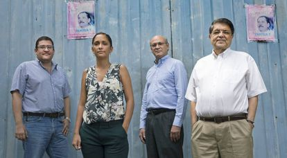 De izquierda a derecha: Felix Vijil, Mónica López Baltodano, Carlos Fernando Chamorro y Sergio Ramírez, en Managua.