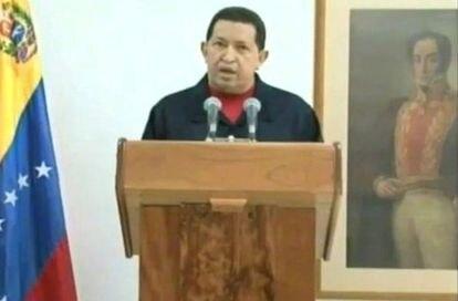 Hugo Chávez, el pasado jueves, se dirige a los venezolanos desde Cuba a través de la televisión.