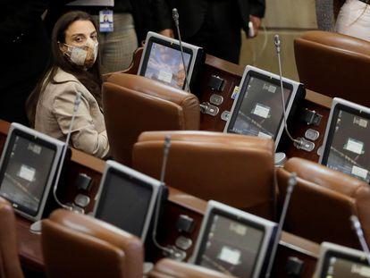 La ministra de las Tecnologías de la Información y las Comunicaciones de Colombia (TIC), Karen Abudinen, durante la moción de censura en su contra en la Cámara de Representantes en Bogotá.