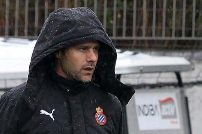 Mauricio Pochettino, en la Ciudad Deportiva del Espanyol en Sant Adrià