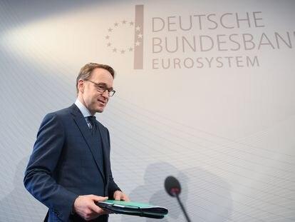 El presidente del Bundesbank, Jens Weidmann, durante una rueda de prensa en la sede de la entidad, en febrero de 2019.