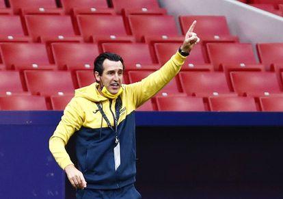 Unai Emery, entrenador del Villarreal, durante el partido celebrado el Wanda Metropolitano.