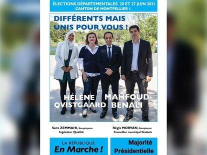 El cartel electoral en el que una aspirante del partido de Macron lleva el velo musulmán.